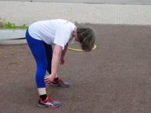 Hildegard Hassemer bei der Gymnastik